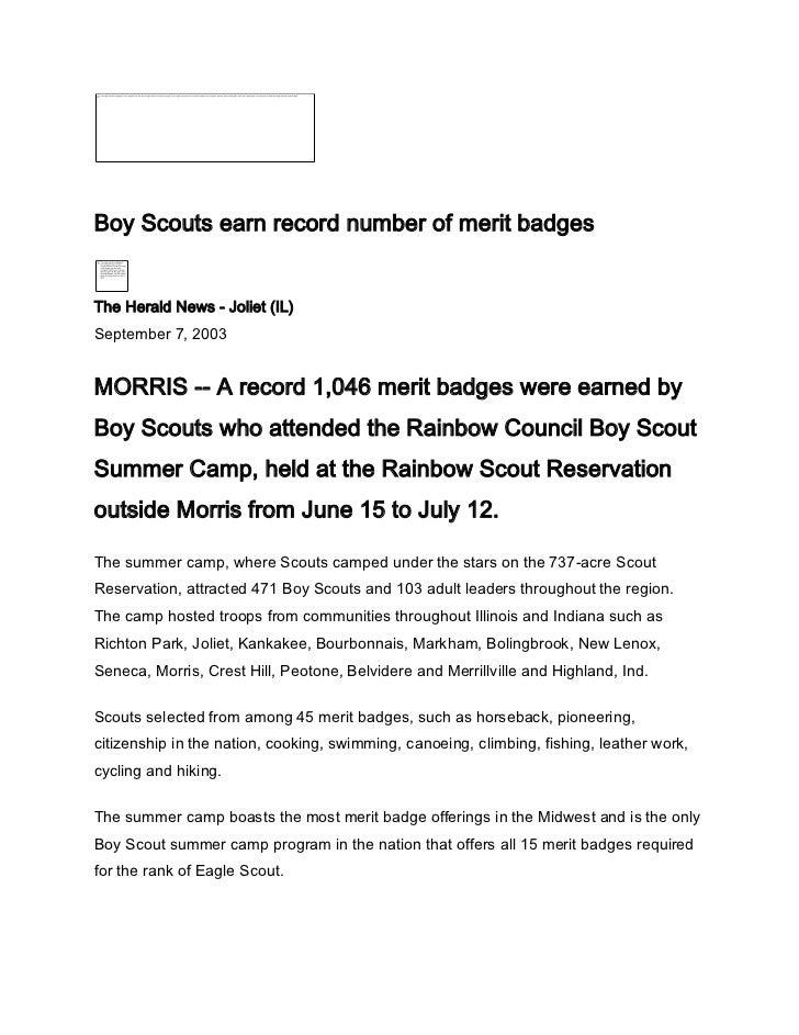 Record merit badges-B S  Summer Camp