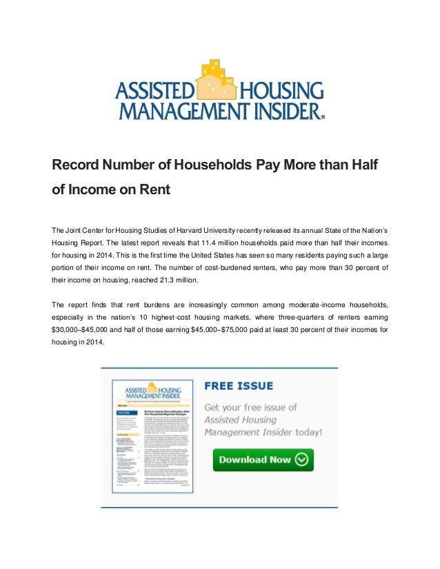 Record Number of Households Pay More than Half of Income on Rent The Joint Center for Housing Studies of Harvard Universit...