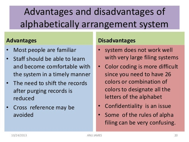 advantages and disadvantages of coding system in accountting accounting information sytems wikipedia: an accounting information system (ais) is a system of collection, storage and processing of financial and accounting data that is used by decision makers an accounting information system is generally a computer-based method for tracking accounting activity in conjunction with.