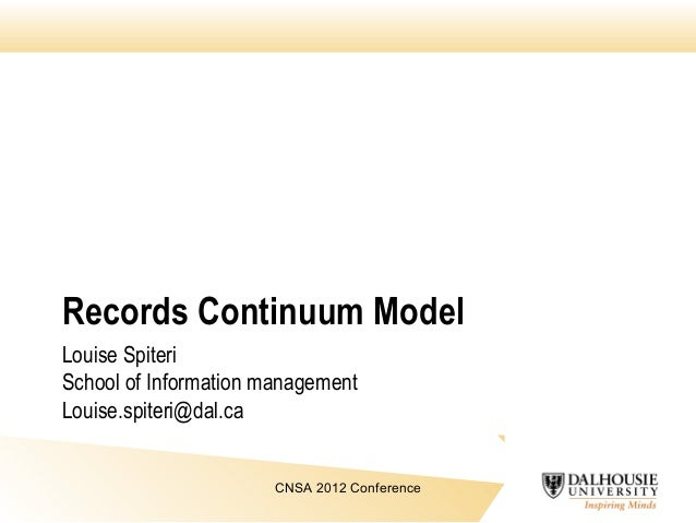 Records Continuum Model Louise Spiteri School of Information management Louise.spiteri@dal.ca CNSA 2012 Conference