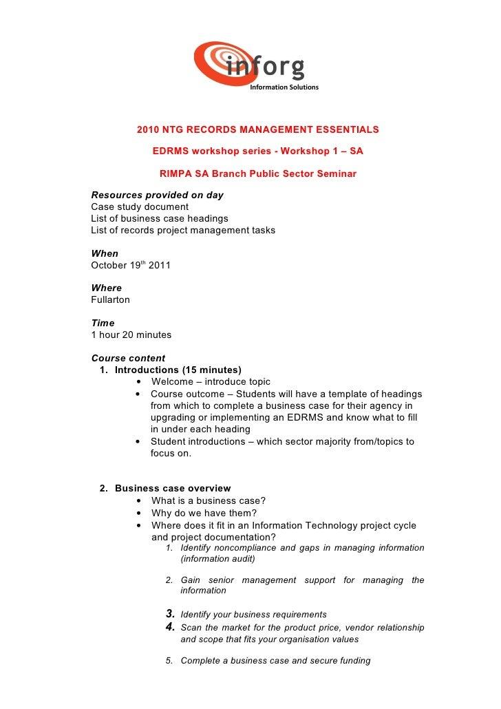 Records management essentials workshop overview   bus case - final