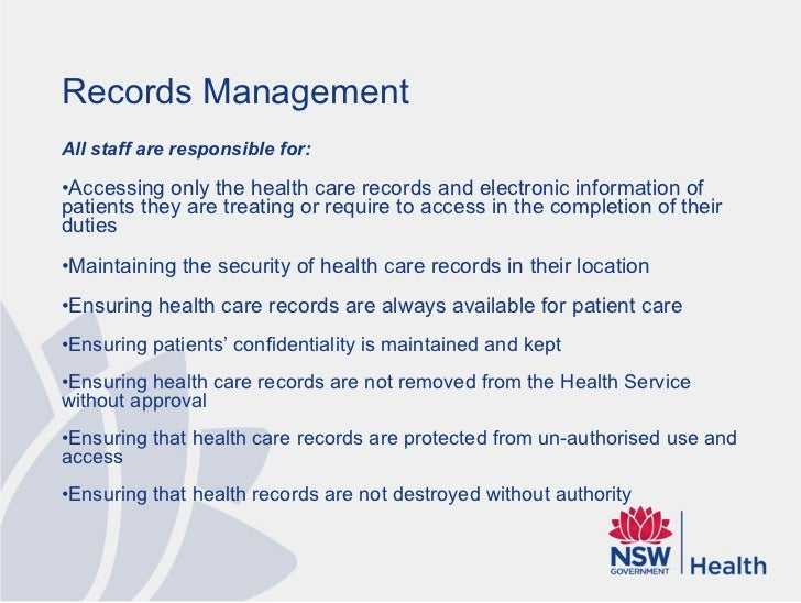 Records Management Principles for Community Health
