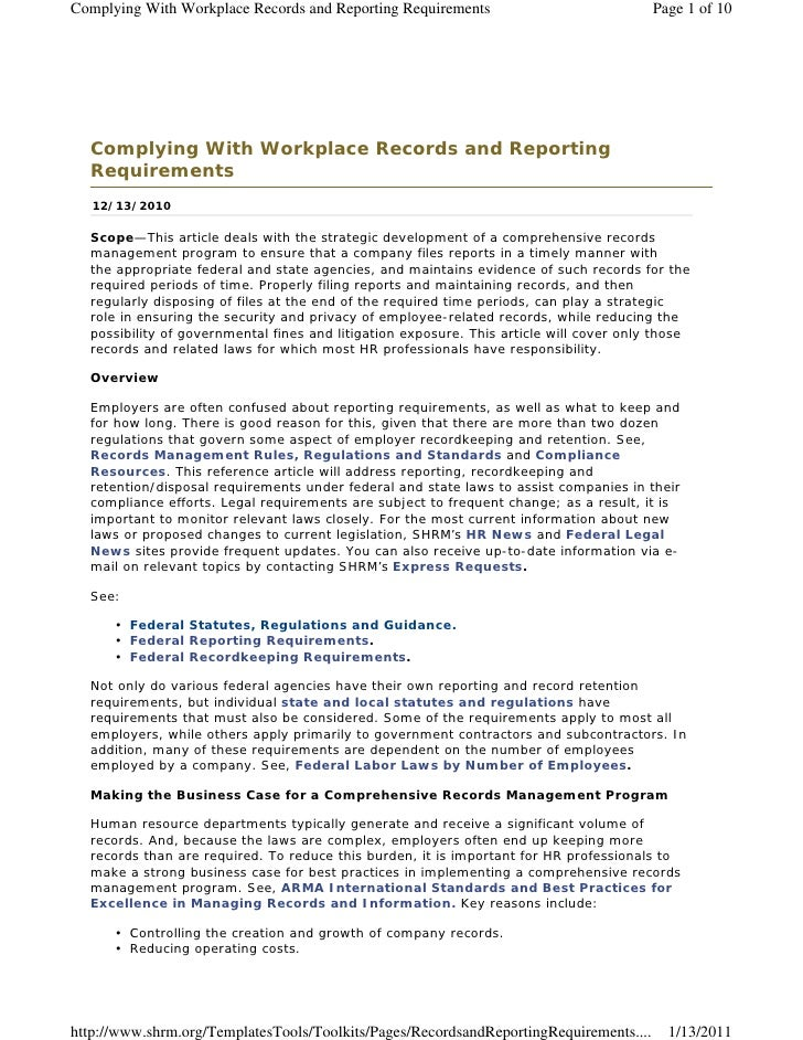 Records retention shrm for Retention schedule template
