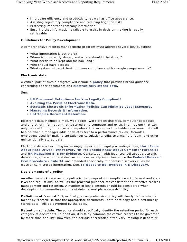 Complying With Workplace Records and Reporting Requirements                              Page 2 of 10      •   Improving e...