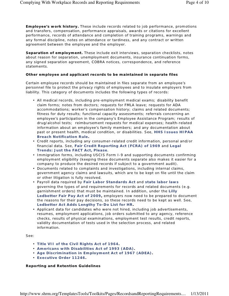 Complying With Workplace Records and Reporting Requirements                             Page 4 of 10  Employee's work hist...