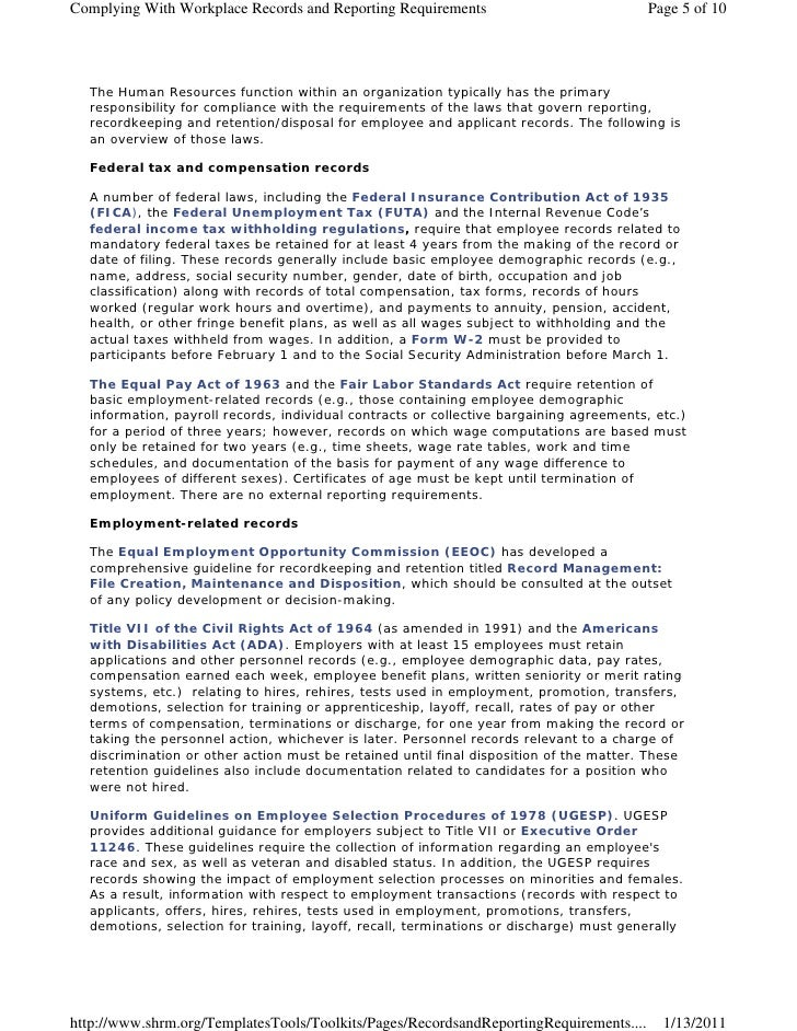Complying With Workplace Records and Reporting Requirements                             Page 5 of 10  The Human Resources ...