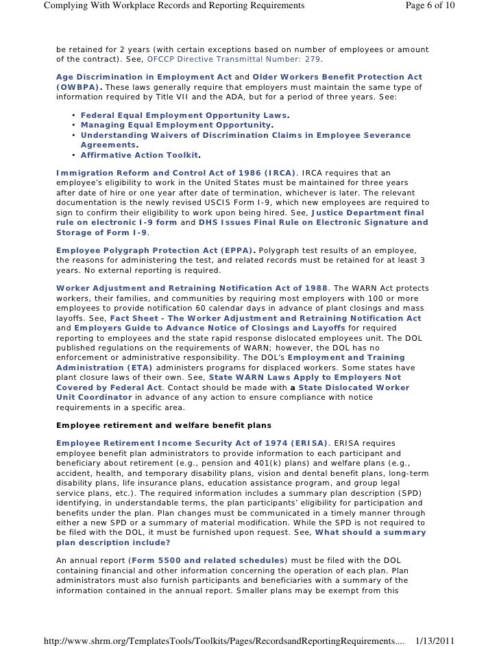 Complying With Workplace Records and Reporting Requirements                               Page 6 of 10  be retained for 2 ...