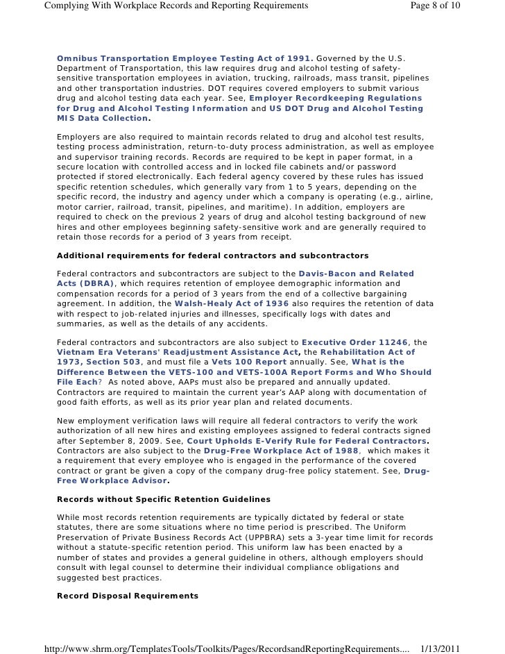 Complying With Workplace Records and Reporting Requirements                              Page 8 of 10  Omnibus Transportat...