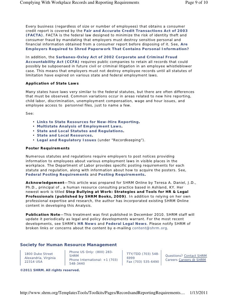 Complying With Workplace Records and Reporting Requirements                               Page 9 of 10  Every business (re...