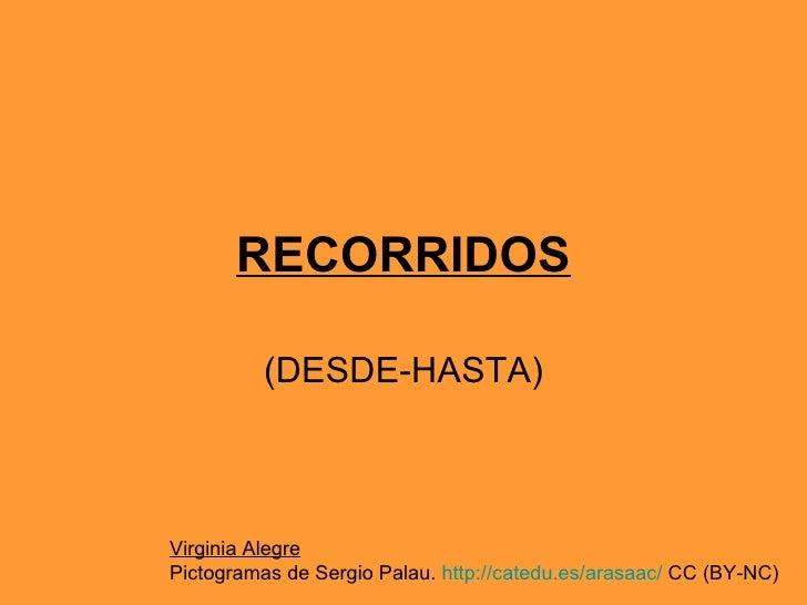 RECORRIDOS (DESDE-HASTA) Virginia Alegre Pictogramas de Sergio Palau.  http://catedu.es/arasaac/  CC (BY-NC)