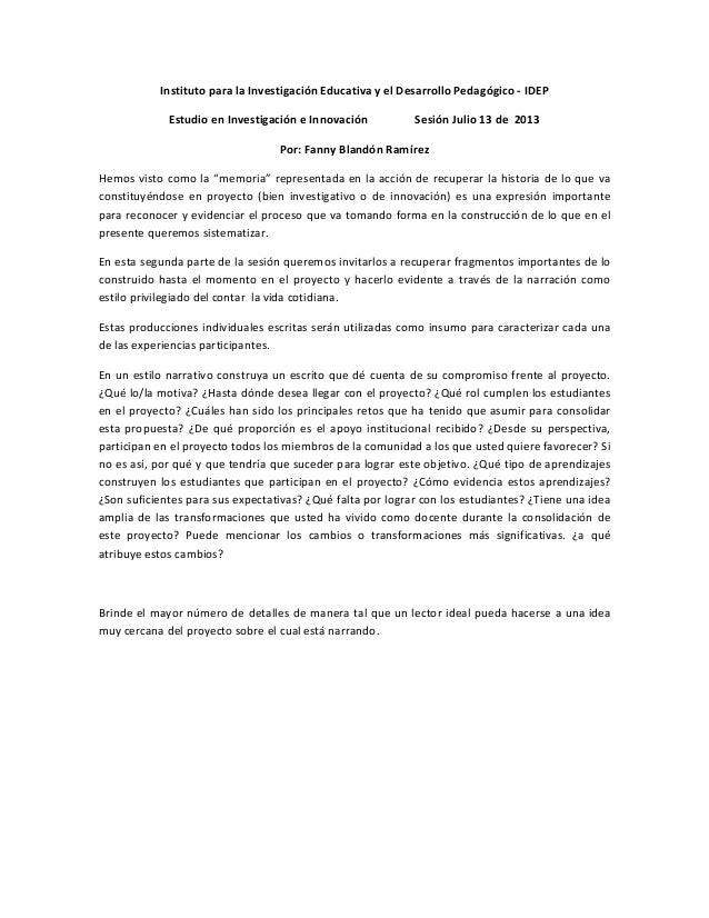 InstitutoparalaInvestigaciónEducativayelDesarrolloPedagógico‐IDEP EstudioenInvestigacióneInnovación Sesi...