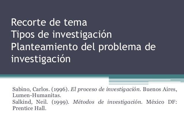 Recorte de tema Tipos de investigación Planteamiento del problema de investigación Sabino, Carlos. (1996). El proceso de i...