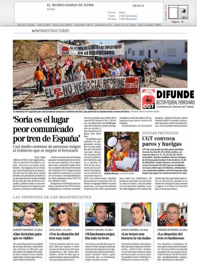 10/10/13EL MUNDO-DIARIO DE SORIA SORIA Prensa: Diaria Tirada: 2.936 Ejemplares Difusión: 2.486 Ejemplares Página: 10 Secci...