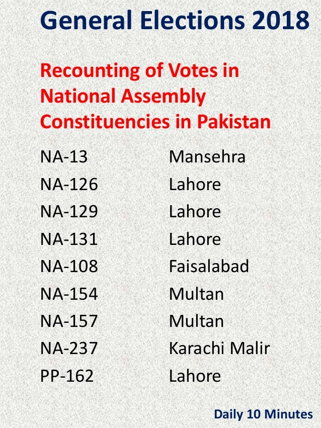 General Elections 2018 Recounting of Votes in National Assembly Constituencies in Pakistan NA-13 Mansehra NA-126 Lahore NA...