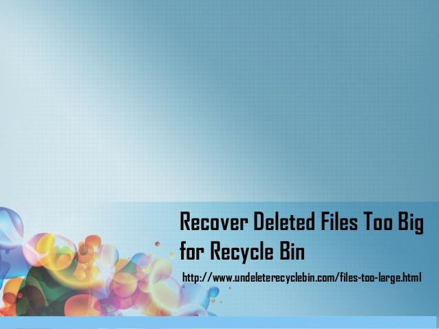 Recover Deleted Files Too Big for Recycle Bin http://www.undeleterecyclebin.com/files-too-large.html