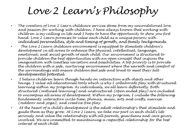 philosophy for childcare