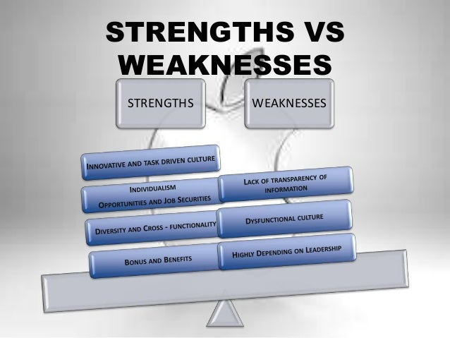 strength and weakness of organisational culture The internal analysis of your organization should include its culture, expertise, resources, and unique qualities within the market place  you may also be interested in: definition of.