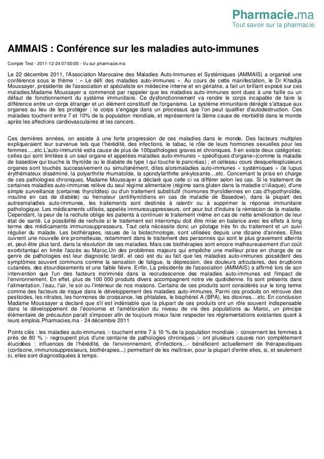 Pharmacie.ma Tout savoir sur la pharmacie AMMAIS : Conf�rence sur les maladies auto-immunes Compte Test - 2011-12-24 07:00...