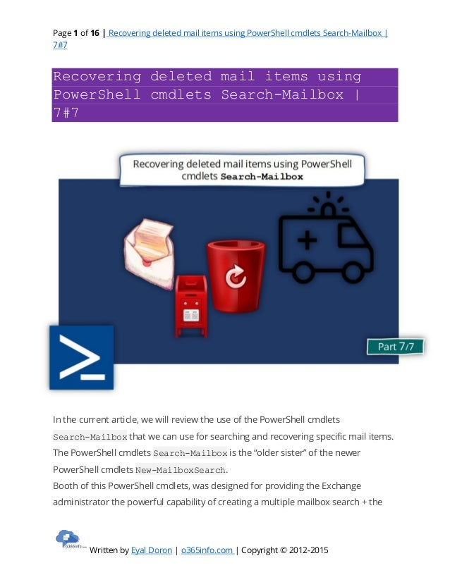 Recovering deleted mail items using PowerShell cmdlets