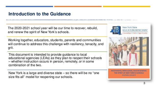 Recovering, rebuilding, and renewing the spirit of our schools school reopening guidance Slide 3
