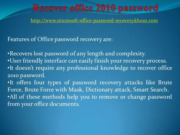 microsoft office 2010 change password