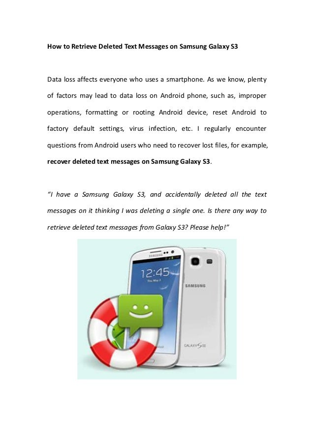 How to Retrieve Deleted Text Messages on Samsung Galaxy S3
