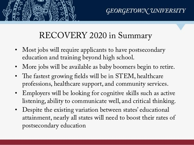 RECOVERY 2020 in Summary • Most jobs will require applicants to have postsecondary education and training beyond high sch...