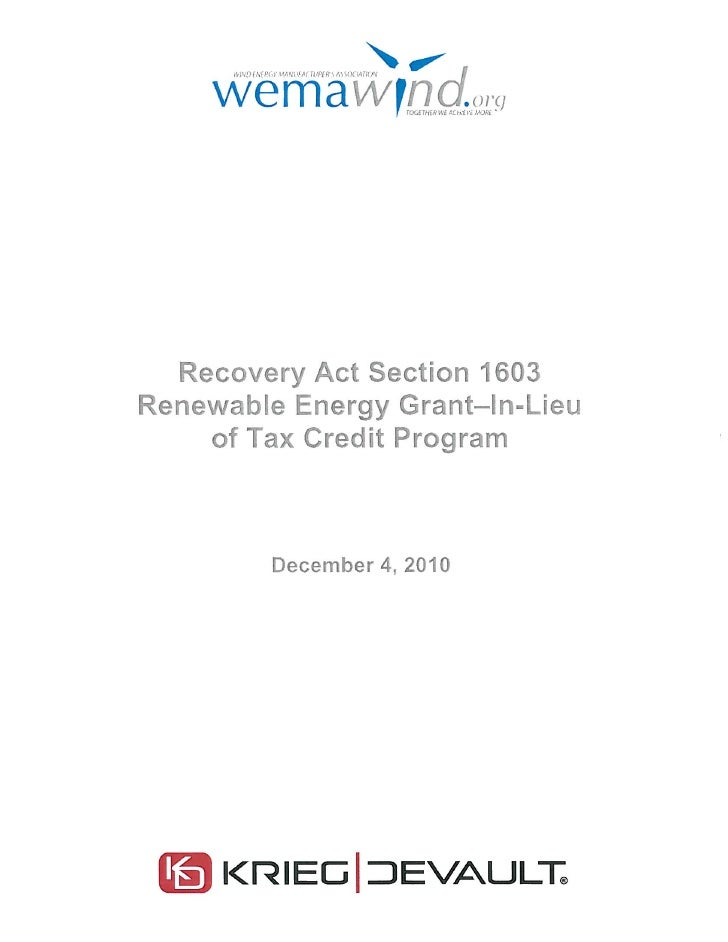 Recovery act section 1603 renewable energy grant in-lieu of tax credit program binder[1]