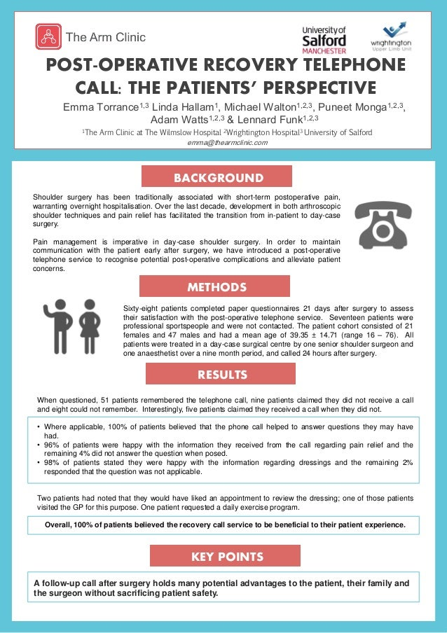 dc66208e Post-operative recovery telephone call: the patients' perspective