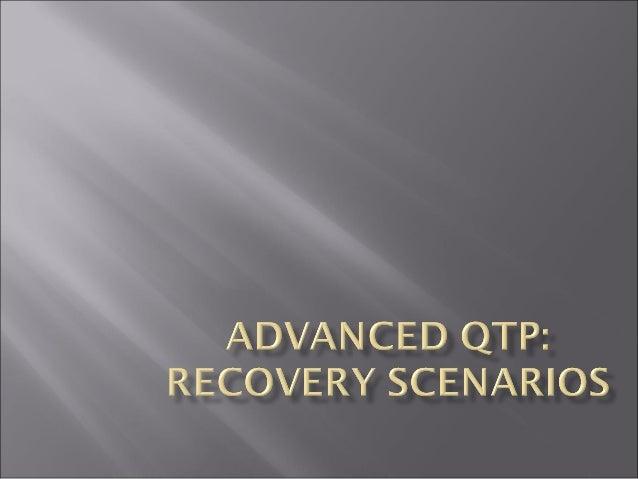 Recovery Scenarios      What is Recovery Scenario? When to use Recovery Scenario? Recovery Scenario Wizard Trigger Even...