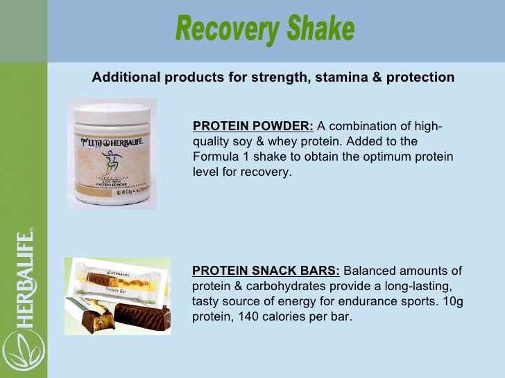 Additional products for strength, stamina & protection Recovery Shake PROTEIN POWDER:  A combination of high-quality soy &...