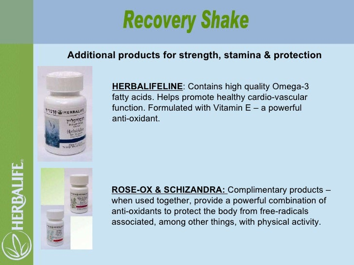 Additional products for strength, stamina & protection Recovery Shake HERBALIFELINE : Contains high quality Omega-3 fatty ...