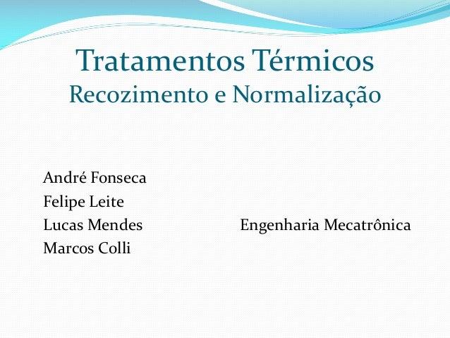 Tratamentos Térmicos Recozimento e Normalização  André Fonseca Felipe Leite Lucas Mendes Marcos Colli  Engenharia Mecatrôn...