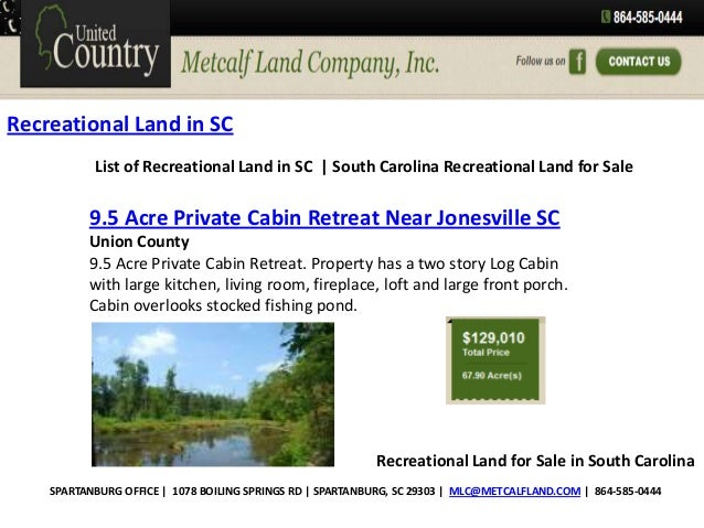 Recreational Land in SC List of Recreational Land in SC | South Carolina Recreational Land for Sale  9.5 Acre Private Cabi...