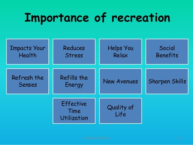 a personal assessment of leisure recreation and play time Ideally recreation is a bulwark of democracy, because in leisure-time pursuits it is possible for a person to choose his activity as a free individual work is generally more regulated and less subject to personal preference than recreation.