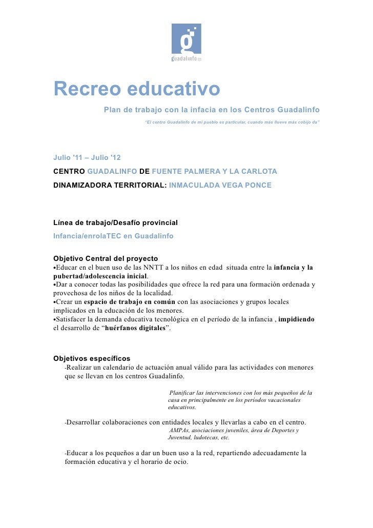 Recreo educativo                  Plan de trabajo con la infacia en los Centros Guadalinfo                                ...