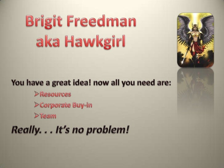 Brigit Freedman <br />aka Hawkgirl<br />You have a great idea! now all you need are:<br /><ul><li>Resources