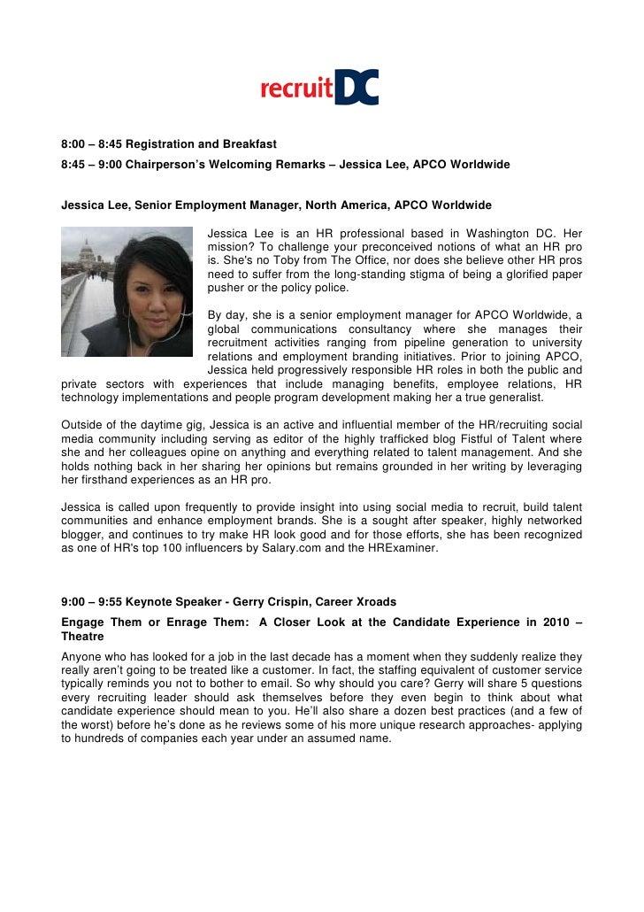 Recruitdc Agenda With Speaker Biographies