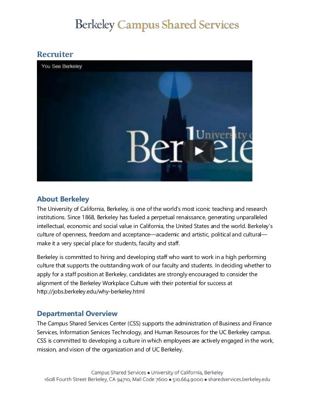 Hot Jobs: Recruiter Job Announcement UC Berkeley