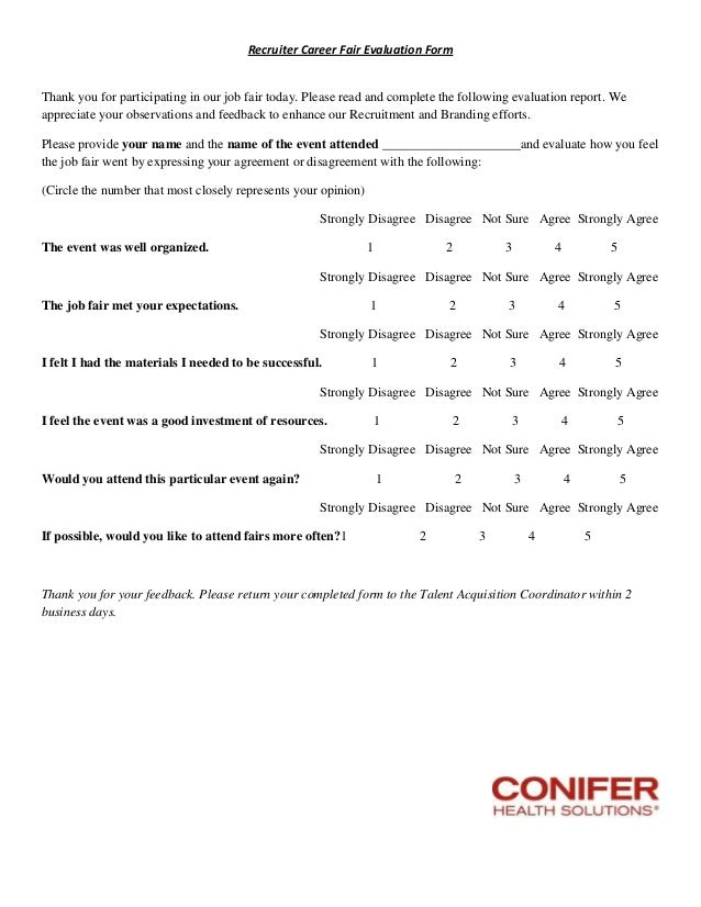 Job Evaluation Form Recruiter Career Fair Evaluation Form Thank You