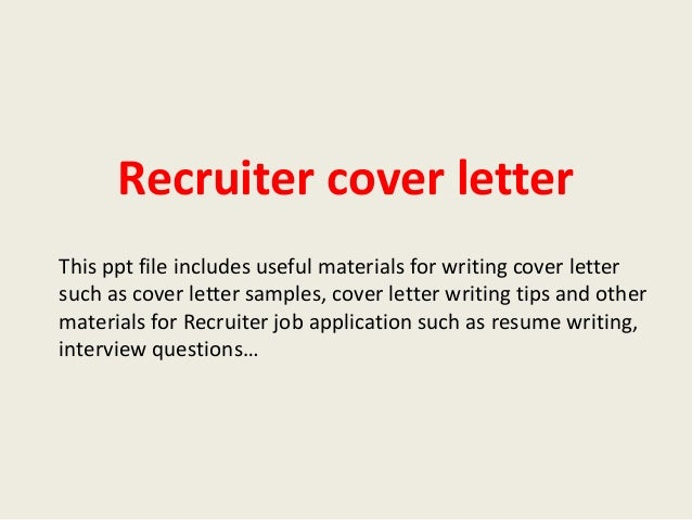 sample cover letter for recruiter job