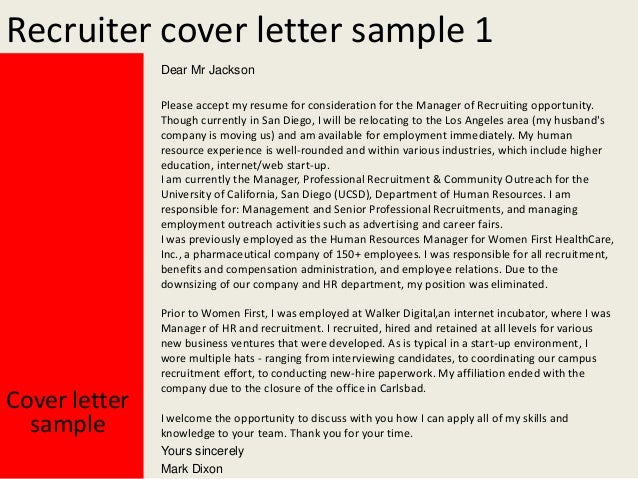 Recruiter Cover Letter ...  Cover Letter To Recruiter