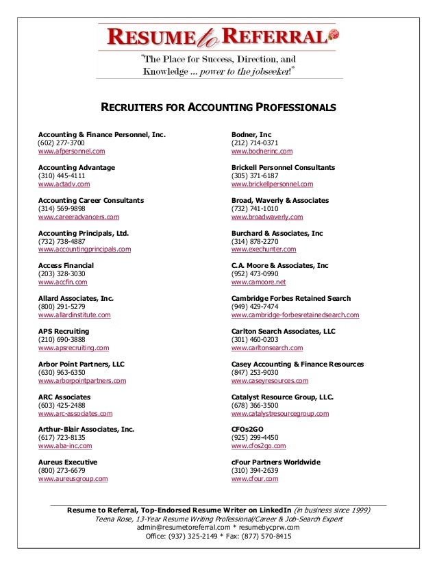 RECRUITERS FOR ACCOUNTING PROFESSIONALS Accounting & Finance Personnel, Inc. (602) 277-3700 www.afpersonnel.com  Bodner, I...