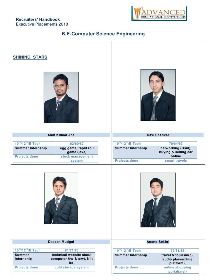 Recruiters' Handbook  Executive Placements 2010                             B.E-Computer Science Engineering    SHINING ST...
