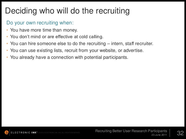 Recruiting Better User Research Participants: UPA 2011