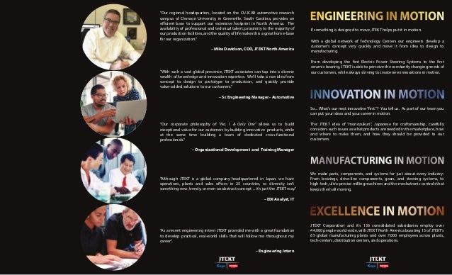 JTEKT Careers in Motion