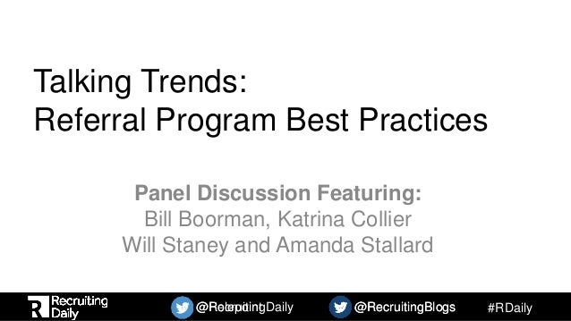 Referrals, Rewards, and Reality: A Panel Discussion