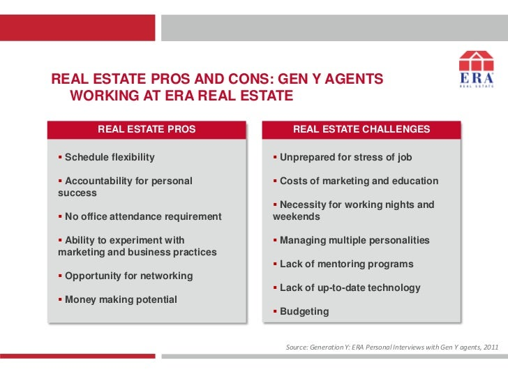 REAL ESTATE PROS AND CONS: GEN Y AGENTS  WORKING AT ERA REAL ESTATE         REAL ESTATE PROS                REAL ESTATE CH...