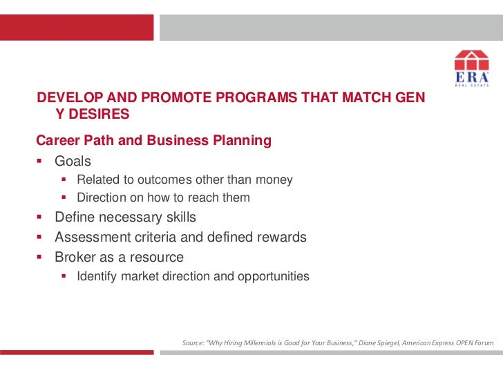 DEVELOP AND PROMOTE PROGRAMS THAT MATCH GEN  Y DESIRESCareer Path and Business Planning Goals    Related to outcomes oth...