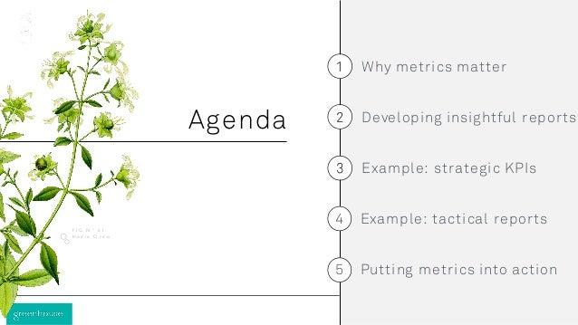 Why metrics matter Example: strategic KPIs Developing insightful reportsAgenda H o d i e O r d o F I G N º 0 1 Example: ta...